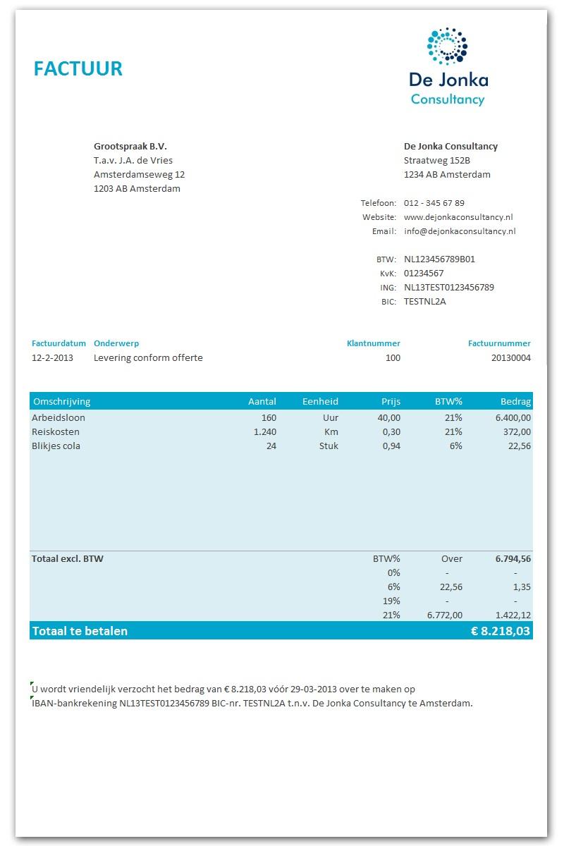 ontwerp factuur Excel facturen maken
