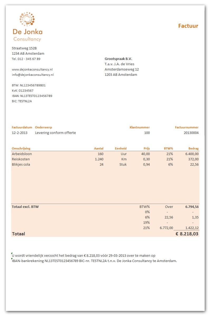 Excel facturen maken